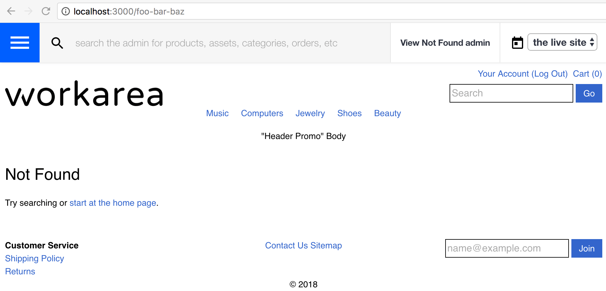 A 404 page in the Storefront