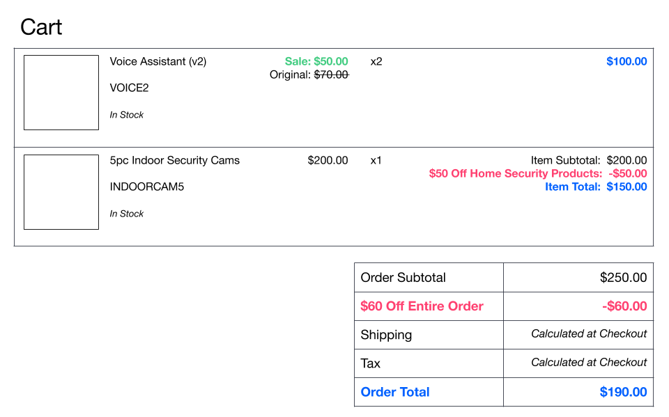 Order pricing cart example