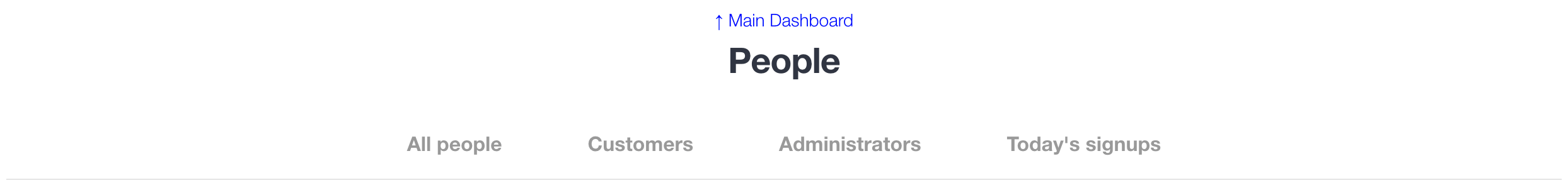 People dashboard links