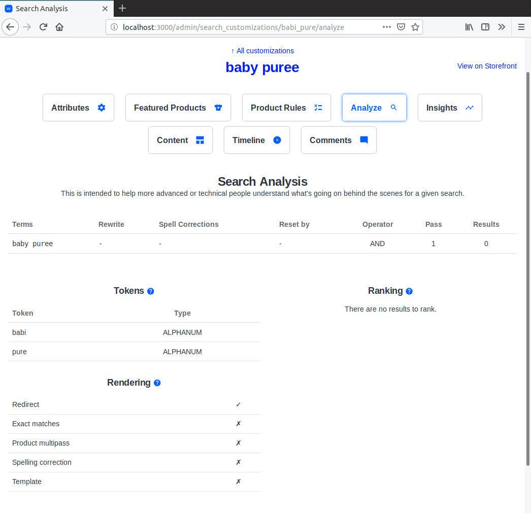 Search analysis admin with alternate rendering section